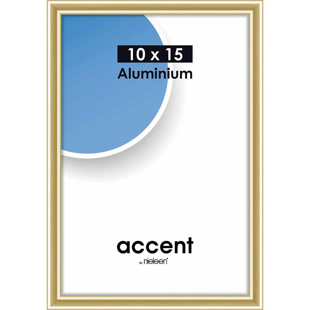 Aluminium-Bilderrahmen Accent 10x15 cm | Gold glanz | Normalglas