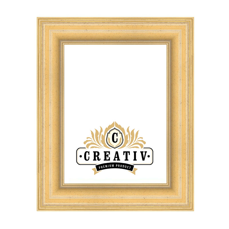 Massivholz-Bilderrahmen Piemonte 60x70 | creme-gold | Antireflexglas