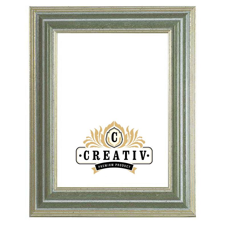 Massivholz-Bilderrahmen Piemonte 60x70 | grün-gold | Antireflexglas