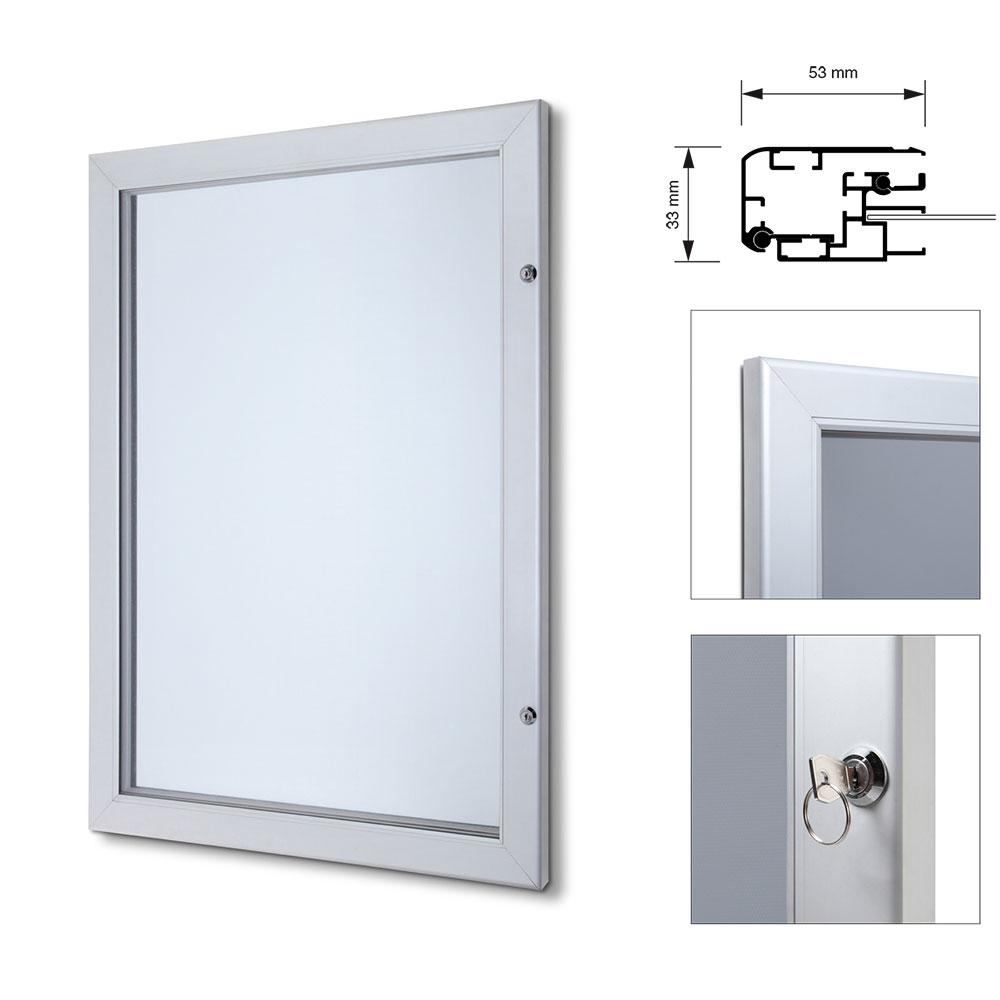 Abschließbarer Plakatschaukasten Premium mit Metallrückwand