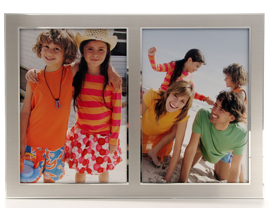 Portrairahmen Sania 2in1 10x15 cm | Alu matt-silber | Normalglas