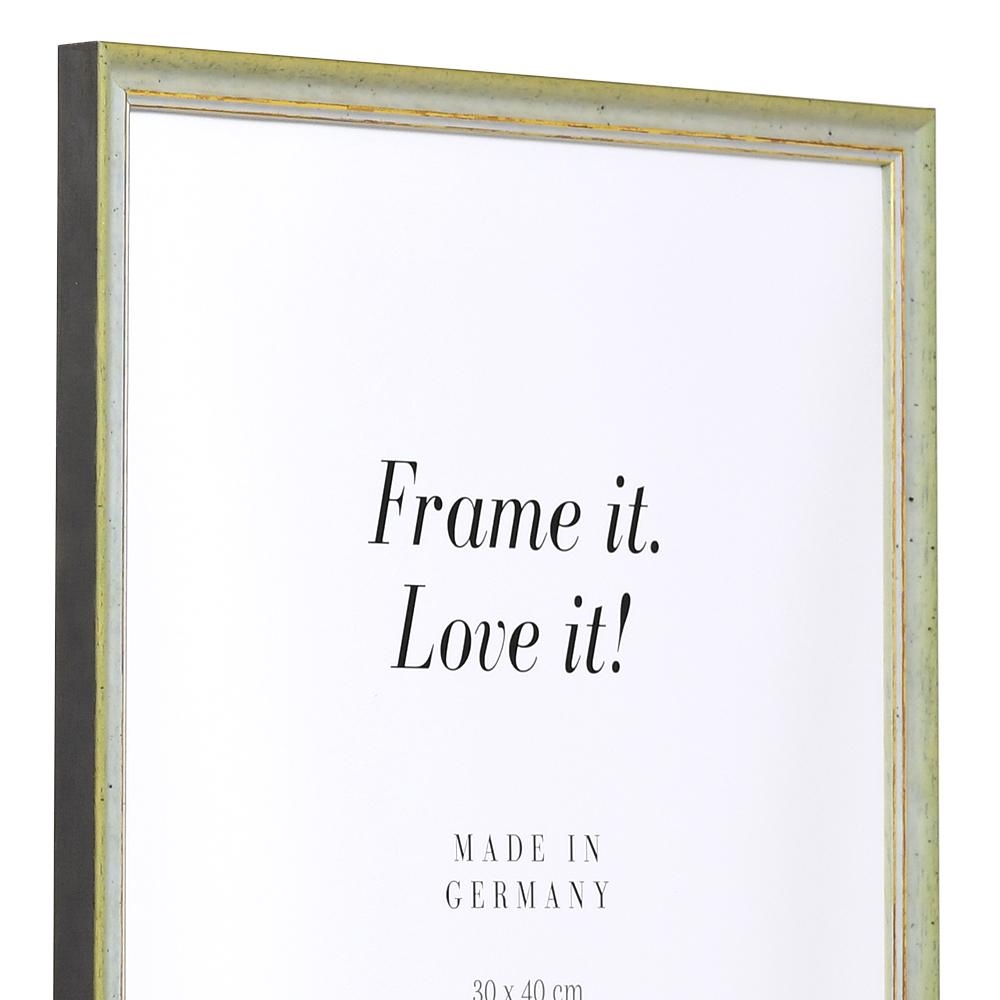 Holz Bilderrahmen Vannes 15x20 cm | grün-gold | Normalglas