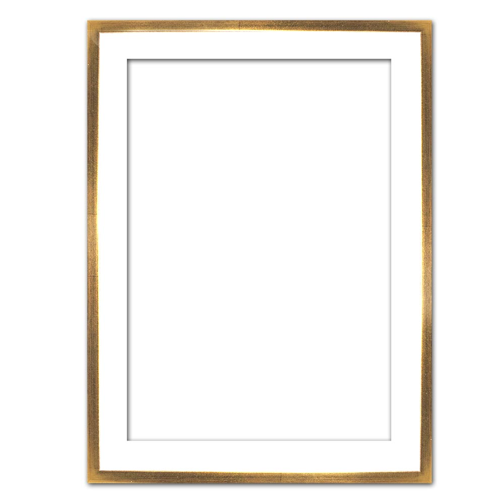 Schattenfugenrahmen Eclipse, Weiß als Maßanfertigung weiß mit Goldkante | Leerrahmen (ohne Glas und Rückwand)