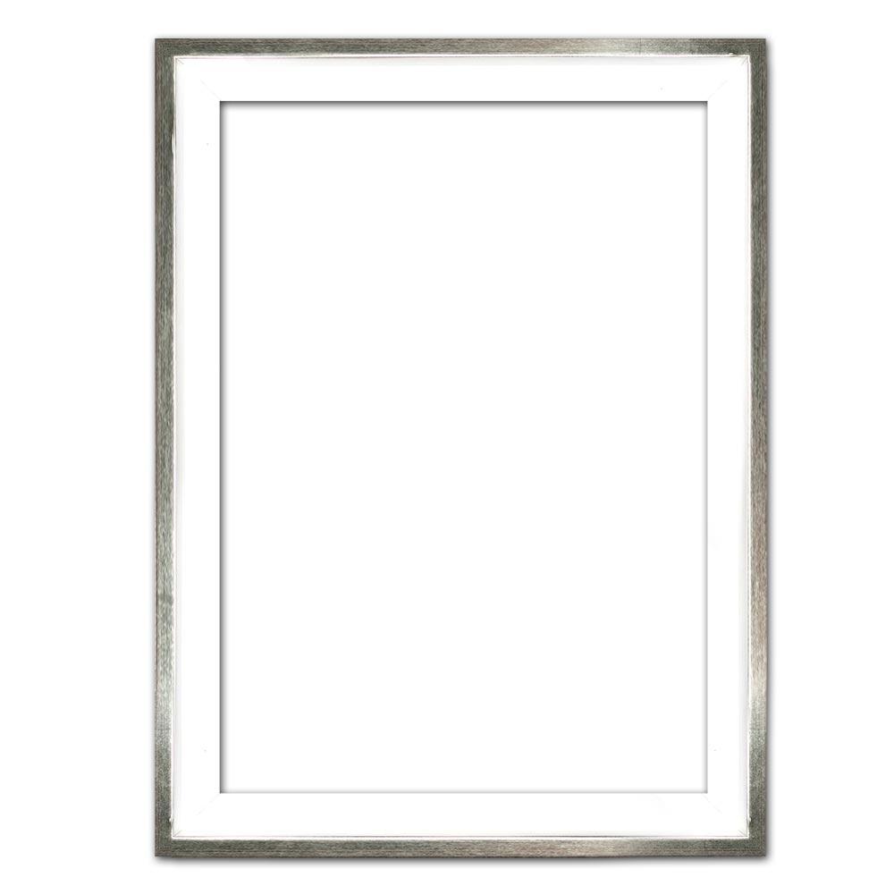 Schattenfugenrahmen Eclipse, Weiß als Maßanfertigung weiß mit Silberkante | Leerrahmen (ohne Glas und Rückwand)