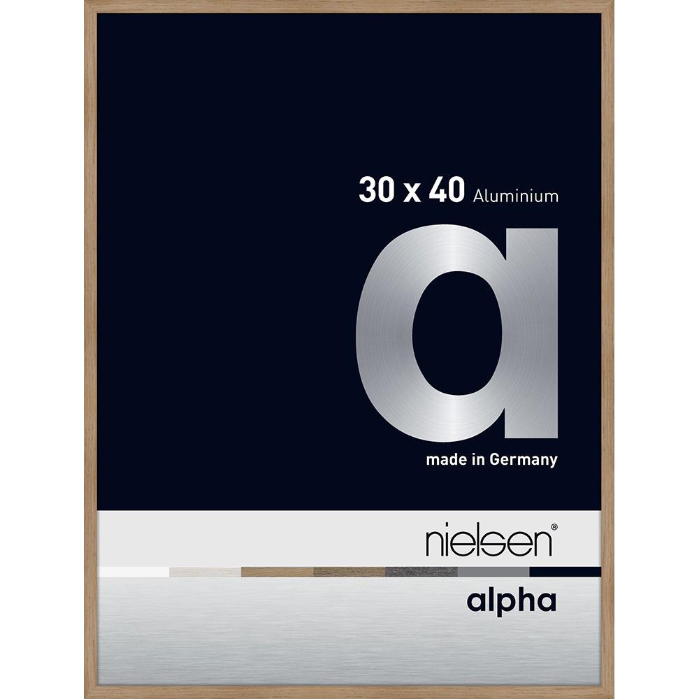Aluminium Bilderrahmen Alpha 30x40 cm | Eiche (furnierte Oberfläche) | Normalglas