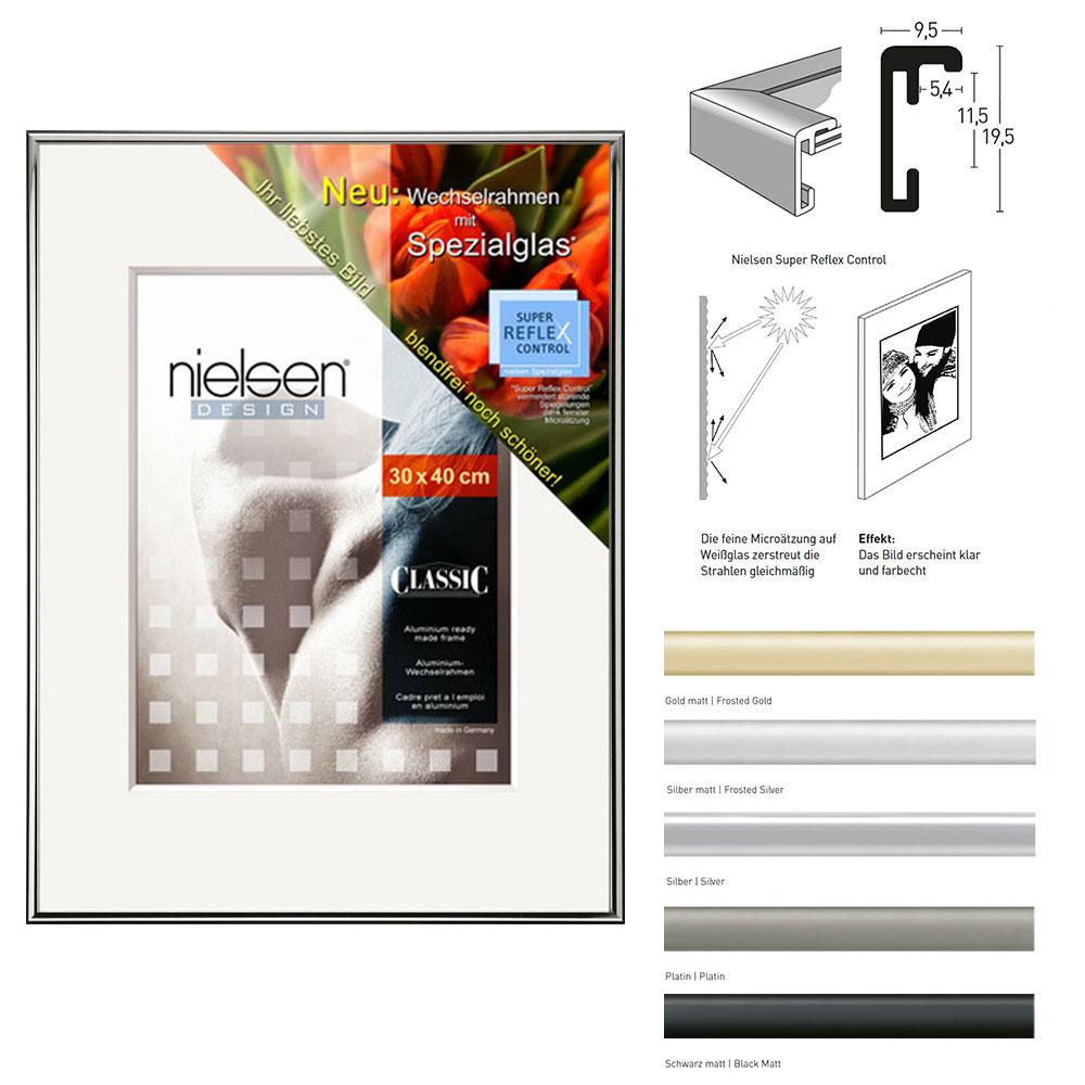 Alurahmen Classic + Spezialglas 29,7x42 cm (A3) | Gold matt | SuperReflexControl
