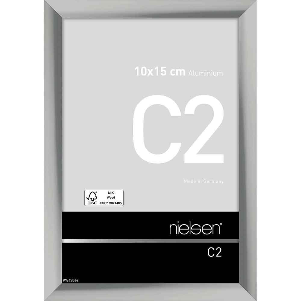 Aluminium Bilderrahmen C2 10x15 cm | Silber glanz | Normalglas