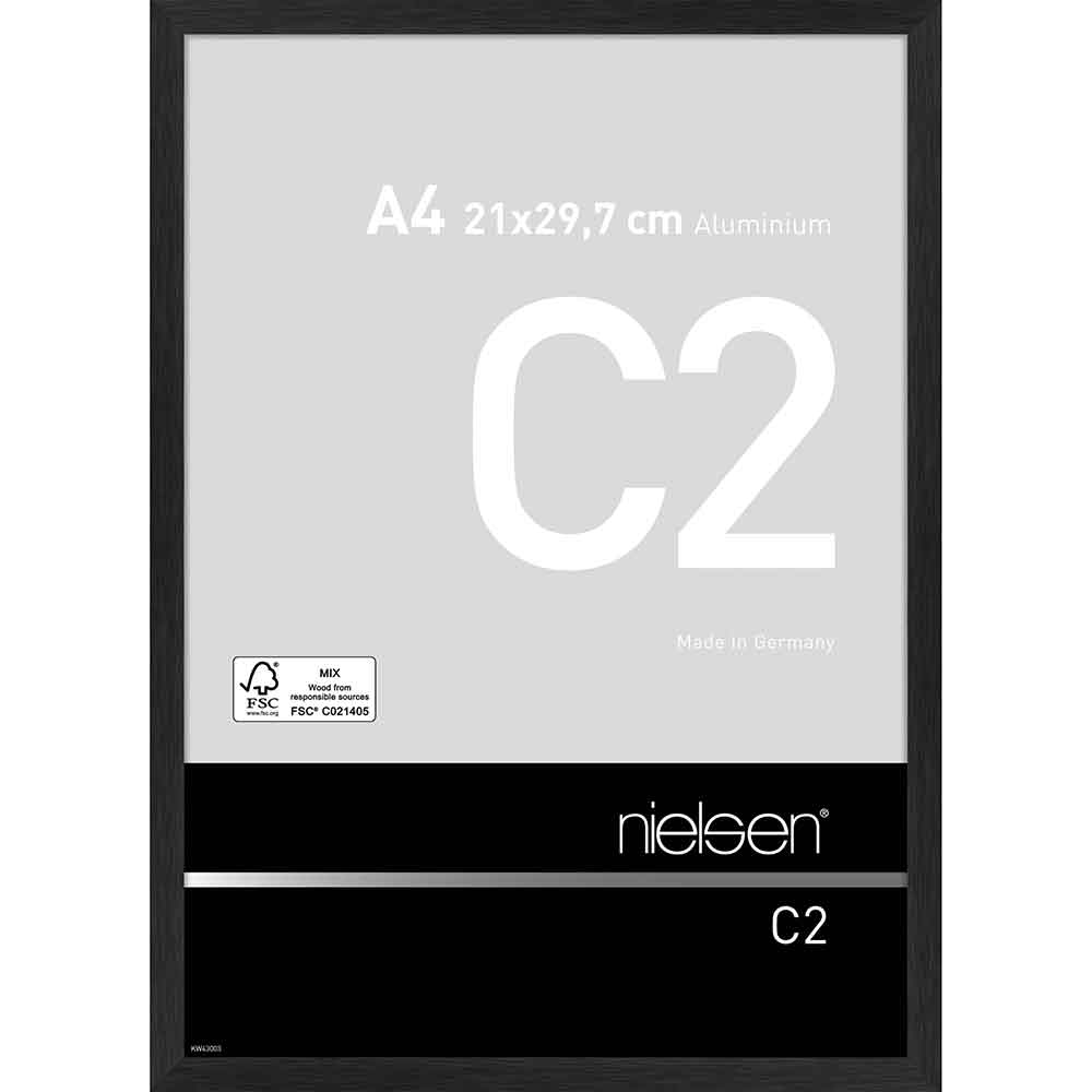 Aluminium Bilderrahmen C2 21x29,7 cm (A4)   Struktur Schwarz matt   Normalglas