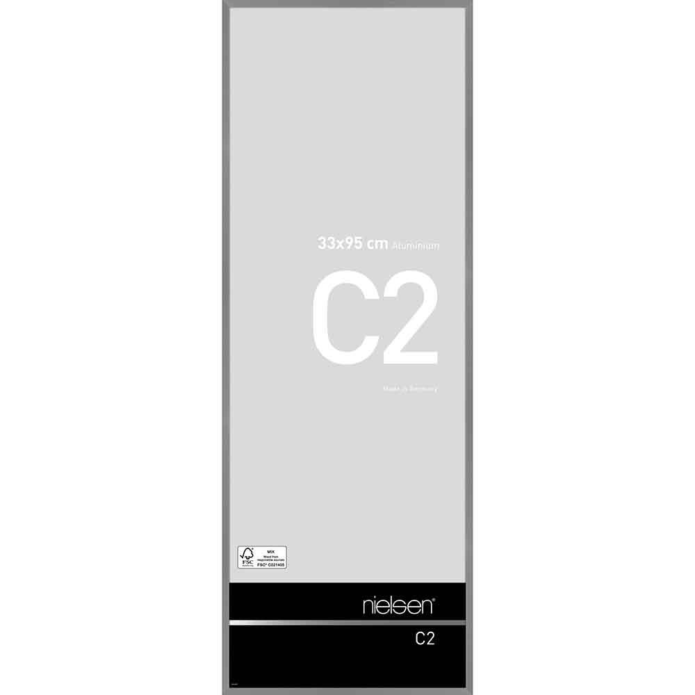 Alurahmen C2 33x95 cm | Struktur Grau matt | Normalglas