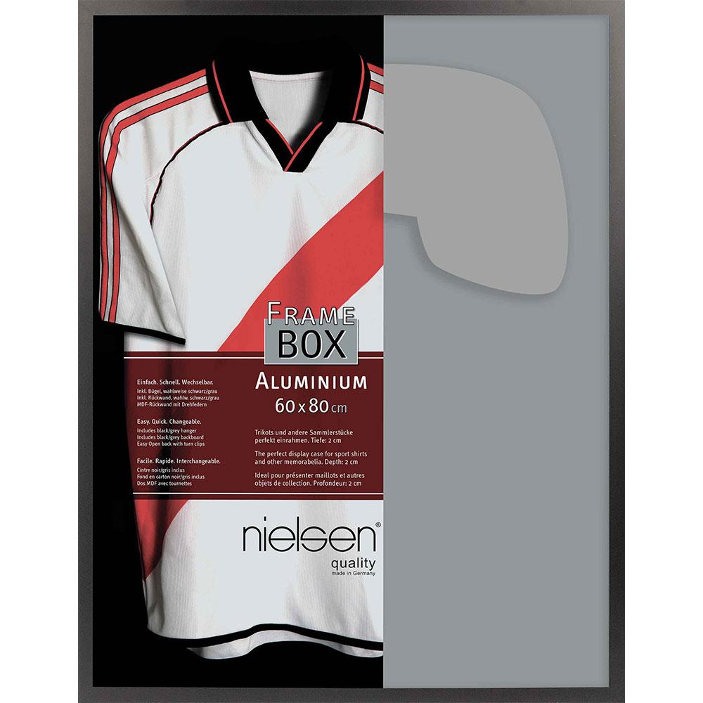 FrameBox II - Bilderrahmen für Trikots 60x80 cm | Schwarz matt | Kunstglas