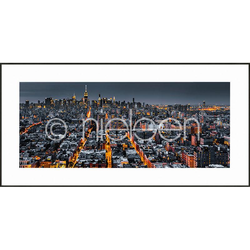 Gerahmte Kunst New York Skyline mit Aluminium Bilderrahmen C2