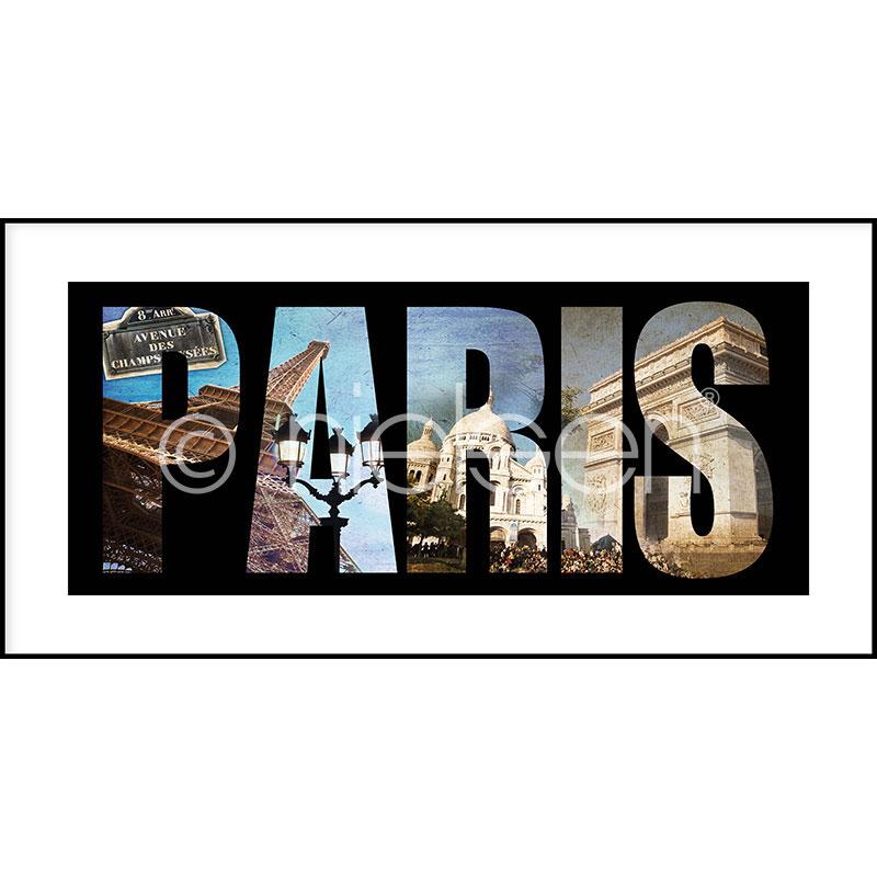 Gerahmte Kunst Paris mit Aluminium Bilderrahmen C2