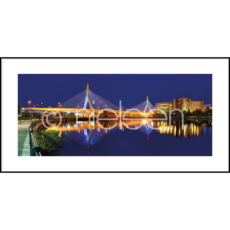 Gerahmte Kunst Bridge at Night mit Aluminium Bilderrahmen C2