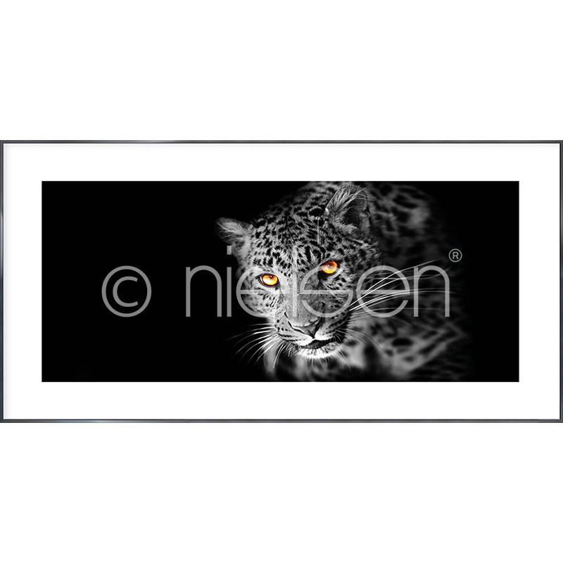 Gerahmte Kunst Leopard mit Aluminium Bilderrahmen Alpha