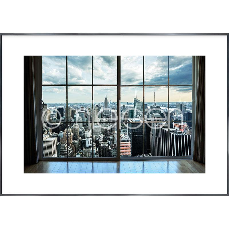 Gerahmte Kunst Living Room mit Aluminium Bilderrahmen Alpha