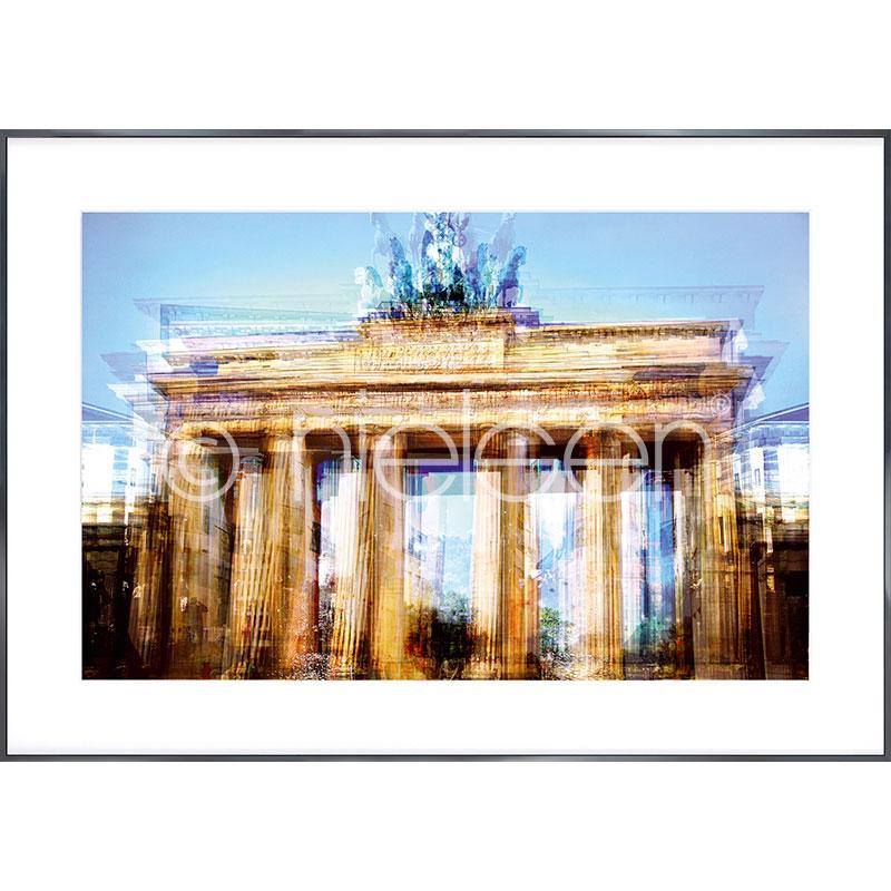 Gerahmte Kunst Brandenburg Gate mit Aluminium Bilderrahmen Alpha
