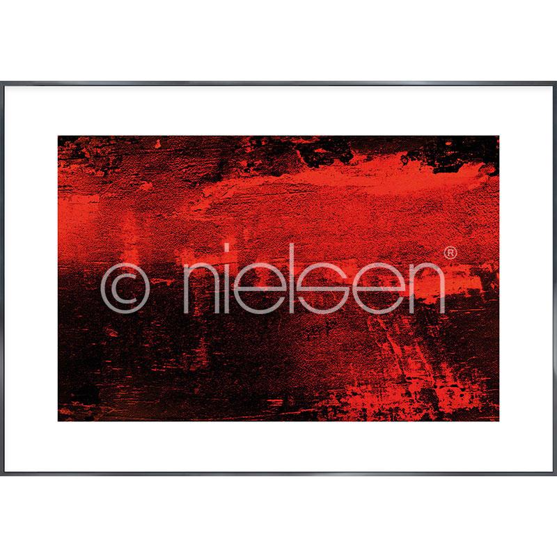 Gerahmte Kunst Abstract red I mit Aluminium Bilderrahmen Alpha