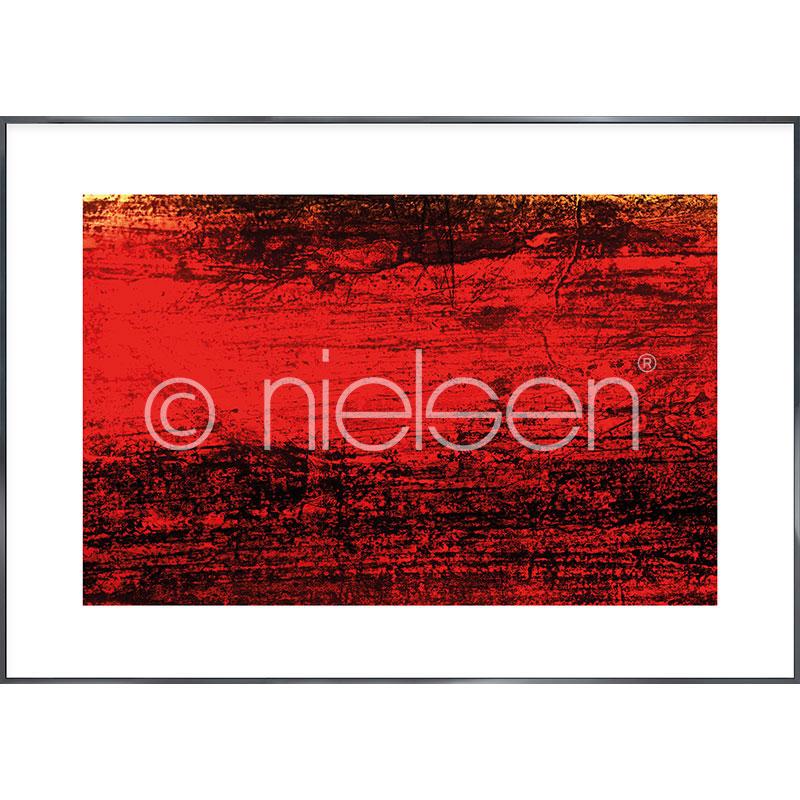 Gerahmte Kunst Abstract red II mit Aluminium Bilderrahmen Alpha