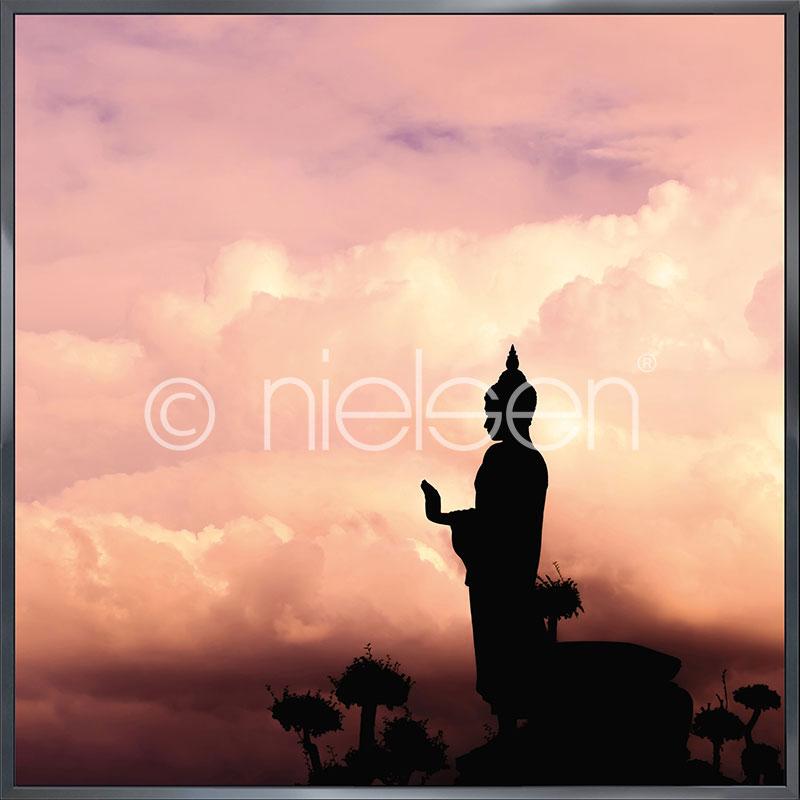 Gerahmte Kunst Buddha mit Aluminium Bilderrahmen Alpha