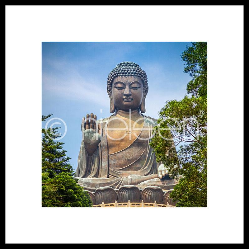 Gerahmte Kunst Statue of Buddha mit Aluminium Bilderrahmen C2