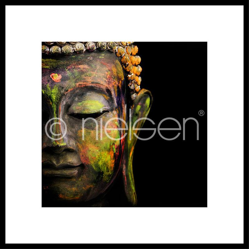 Gerahmte Kunst Buddha head mit Aluminium Bilderrahmen C2