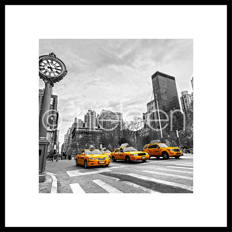 Gerahmte Kunst New York Taxi mit Aluminium Bilderrahmen C2