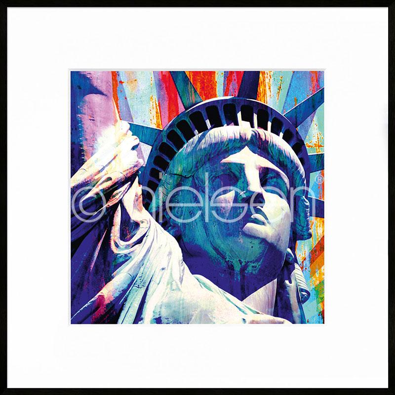 Gerahmte Kunst Statue of Liberty mit Aluminium Bilderrahmen C2