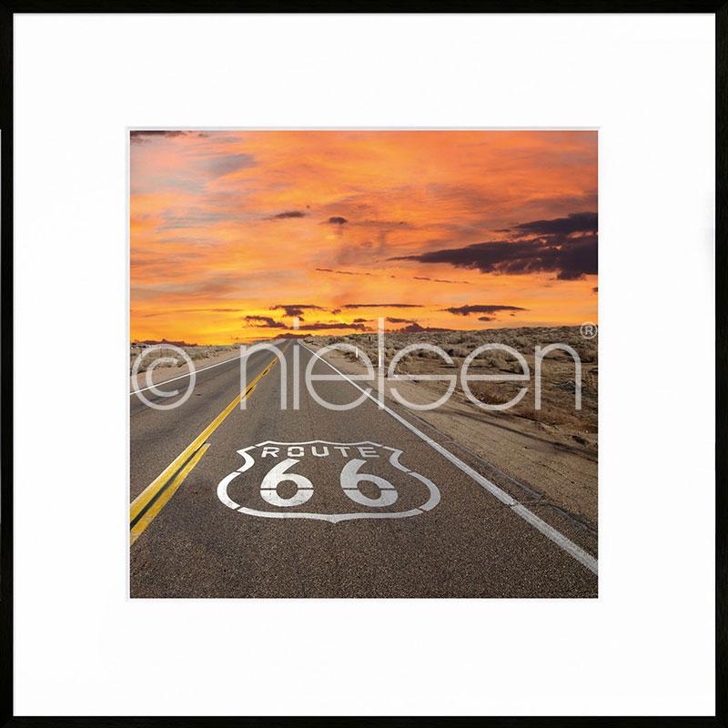 Gerahmte Kunst Route 66 mit Aluminium Bilderrahmen C2
