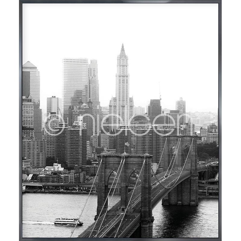 Gerahmte Kunst Brooklyn Bridge mit Aluminium Bilderrahmen Alpha