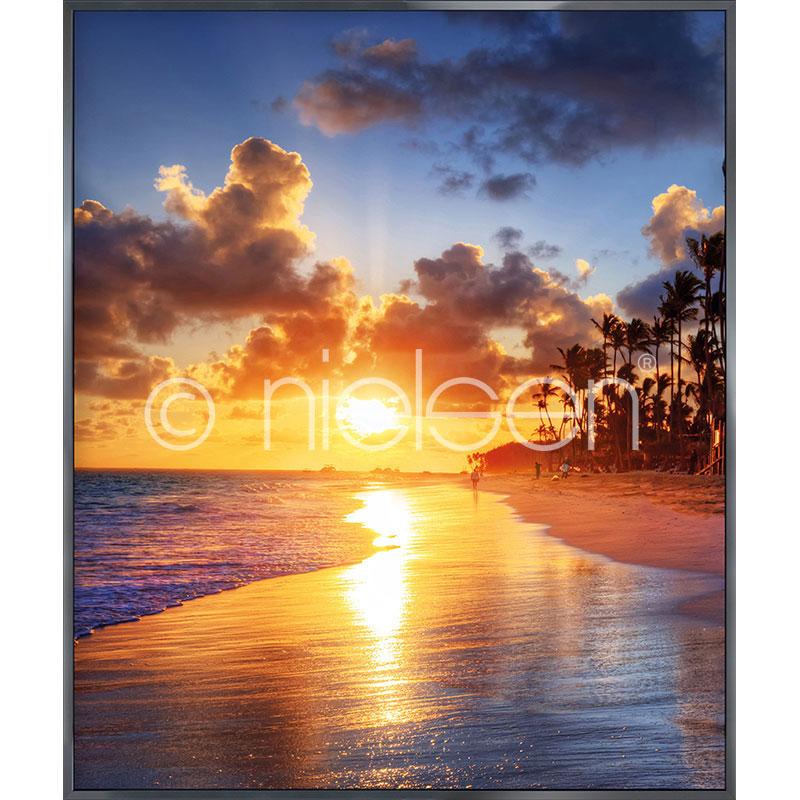 Gerahmte Kunst Sunset Beach mit Aluminium Bilderrahmen Alpha