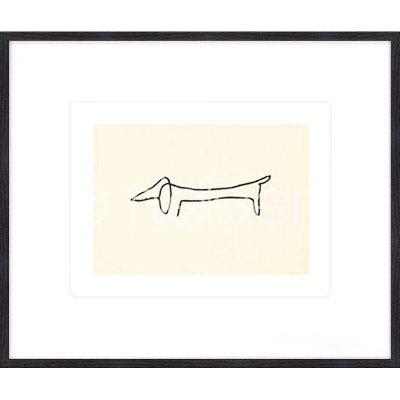Gerahmte Kunst Le chien Picasso mit Holz Bilderrahmen Quadrum