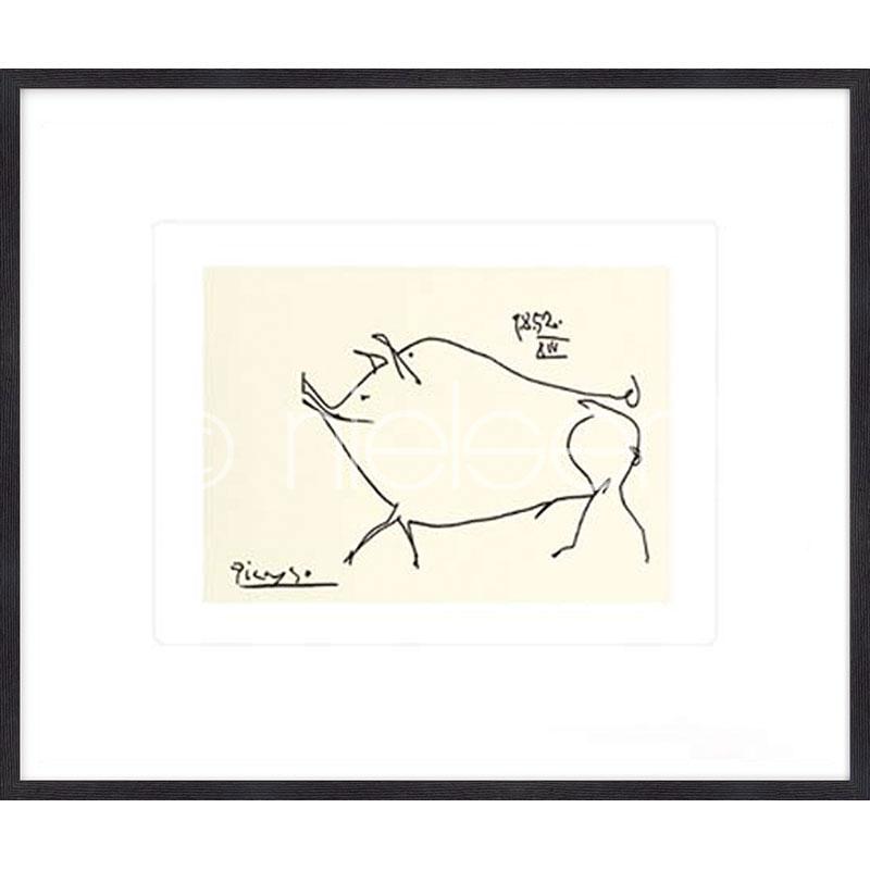 Gerahmte Kunst Le petit cochon Picasso mit Holz Bilderrahmen Quadrum