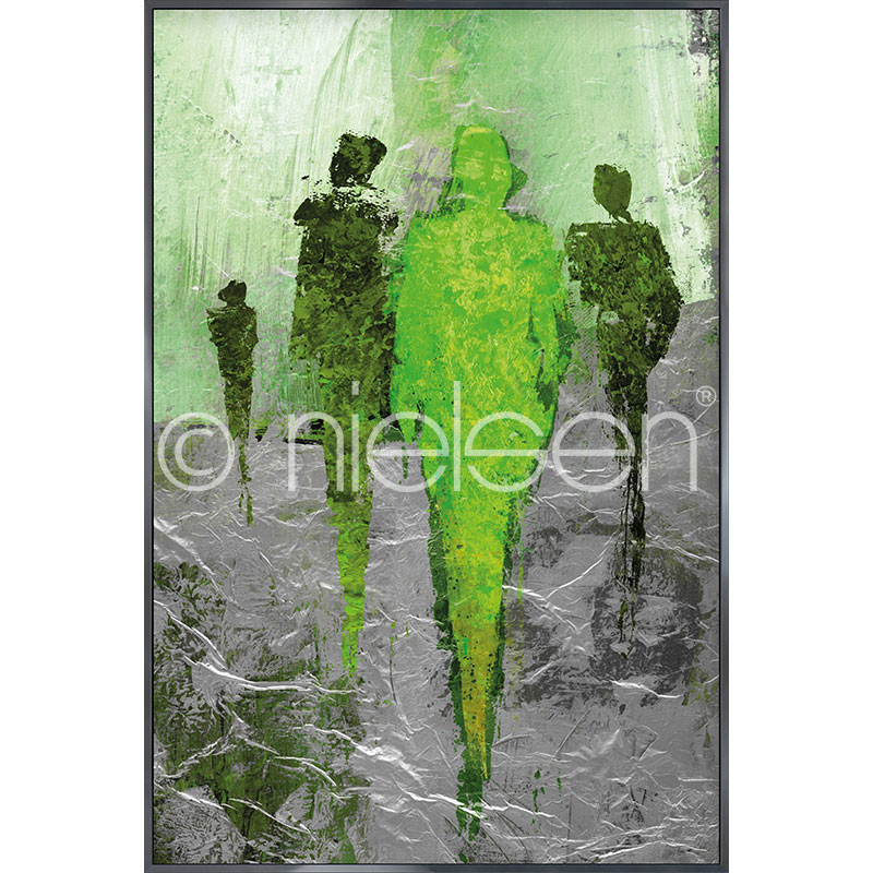 Gerahmte Kunst Abstract Figures Green mit Aluminium Bilderrahmen Alpha