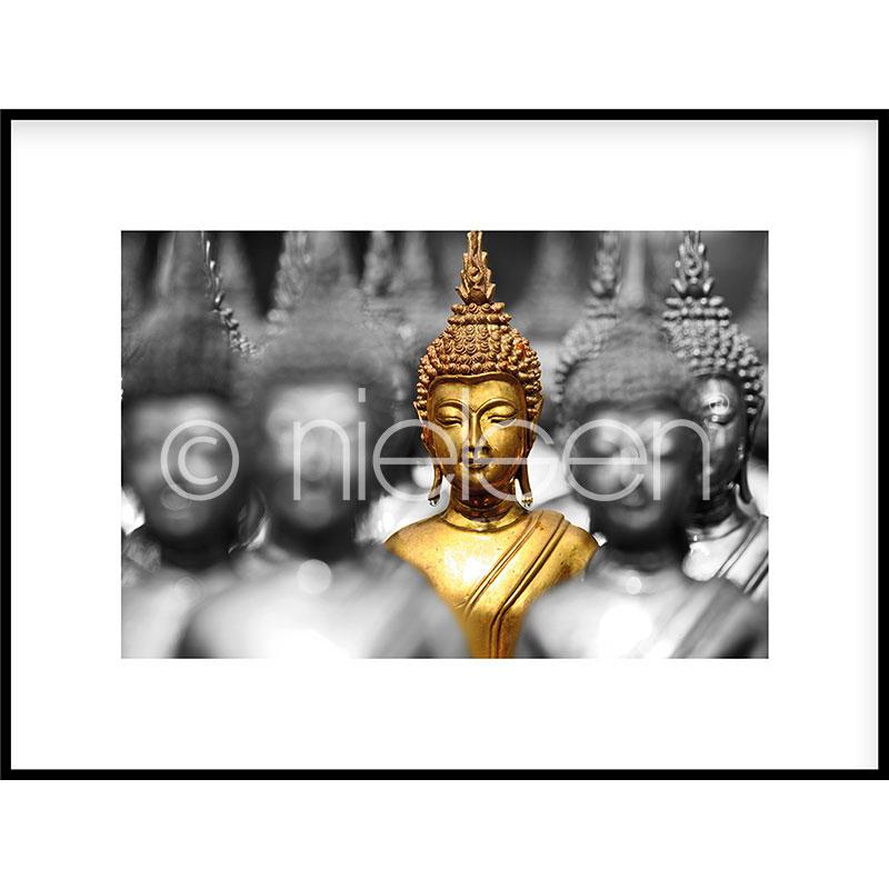 Gerahmte Kunst Buddha in gold mit Aluminium Bilderrahmen C2