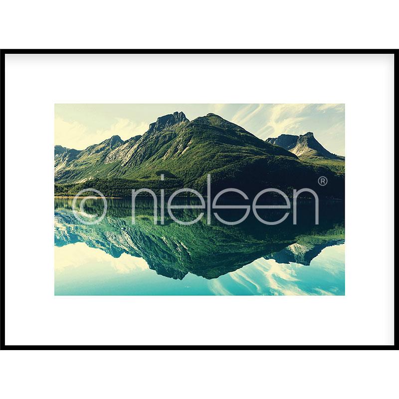 Gerahmte Kunst Mountain Lake mit Aluminium Bilderrahmen C2