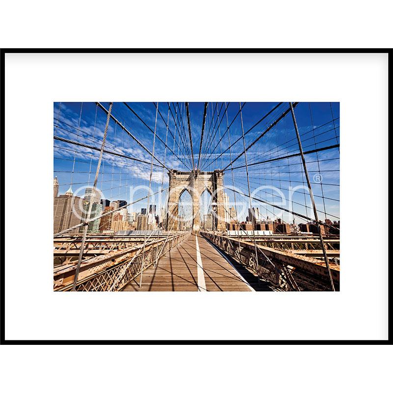 Gerahmte Kunst Brooklyn Bridge mit Aluminium Bilderrahmen C2