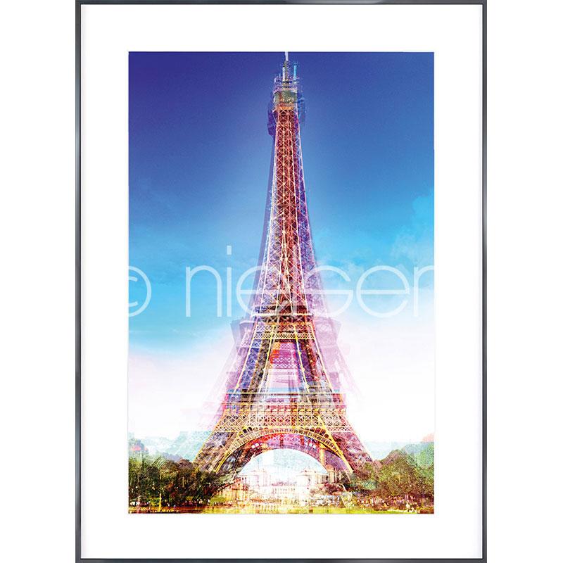 Gerahmte Kunst Eiffel Tower mit Aluminium Bilderrahmen Alpha