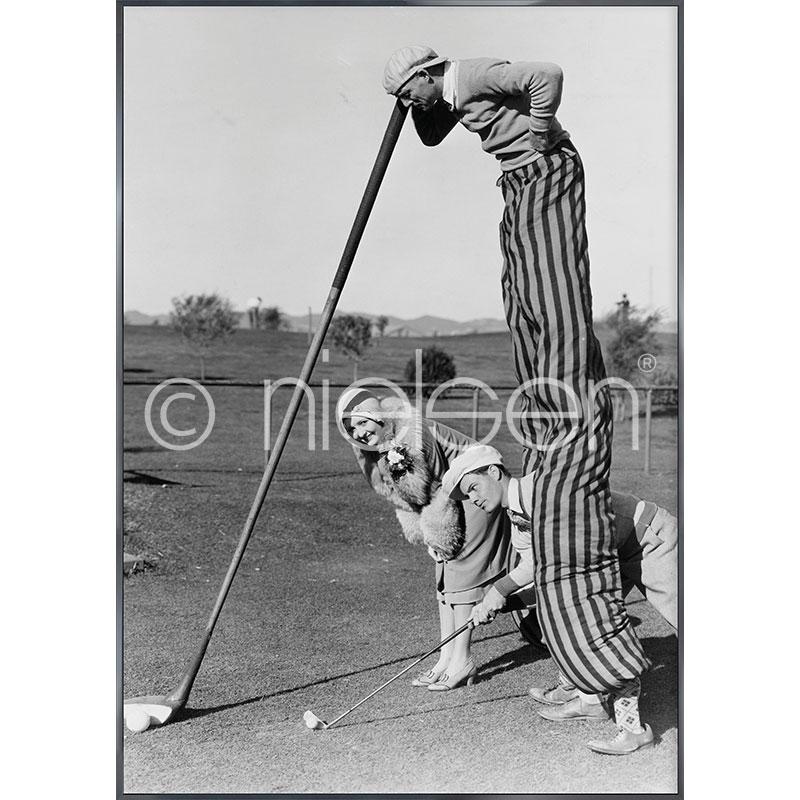 Gerahmte Kunst Golfer mit Aluminium Bilderrahmen Alpha