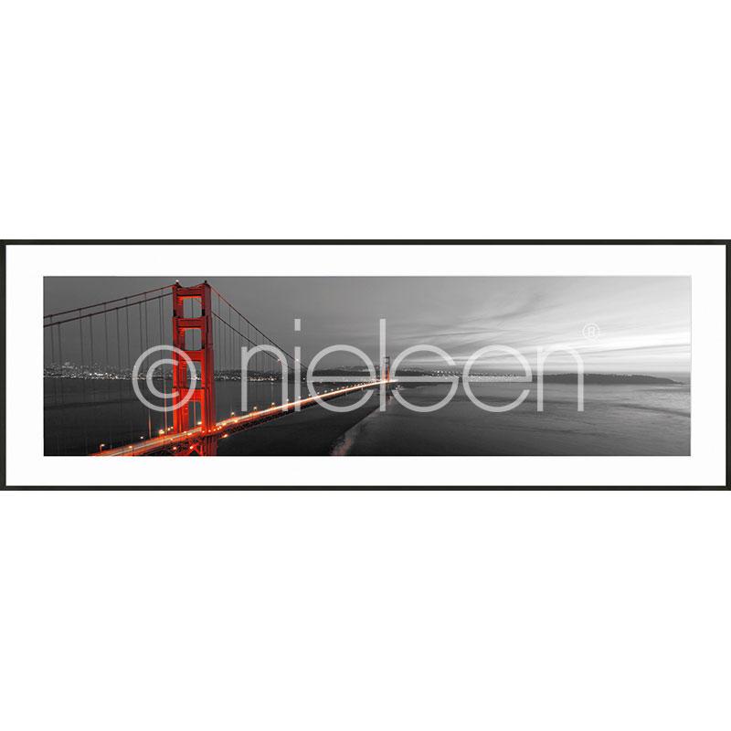 Gerahmte Kunst Golden Gate Bridge mit Aluminium Bilderrahmen C2