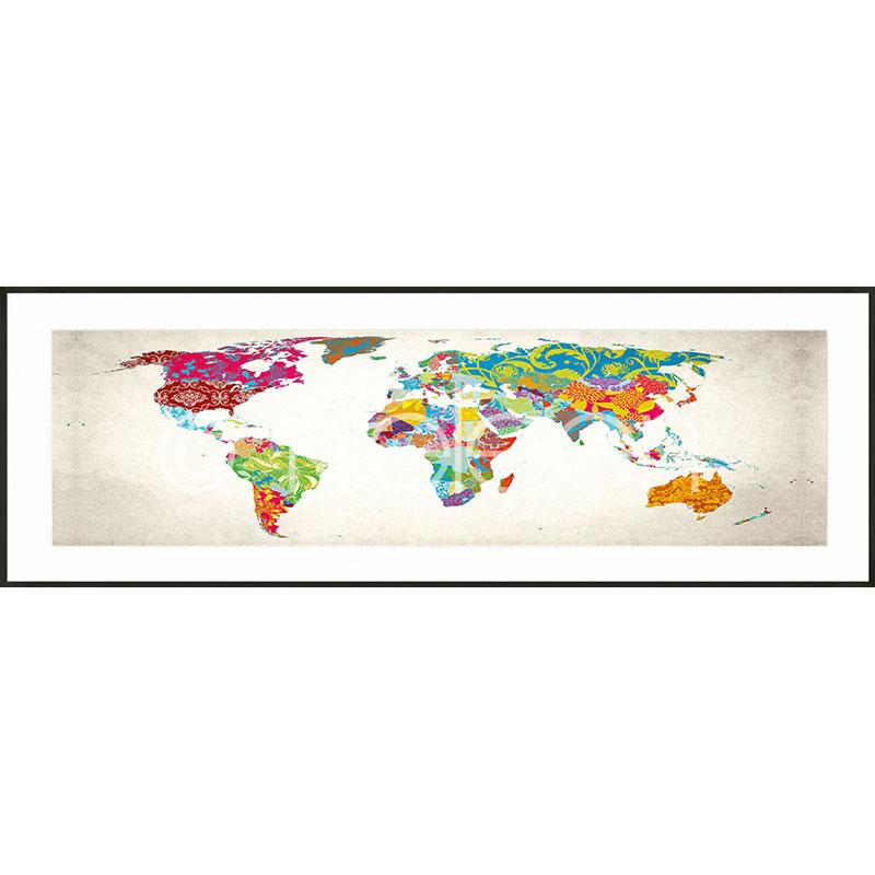 Gerahmte Kunst World Map mit Aluminium Bilderrahmen C2