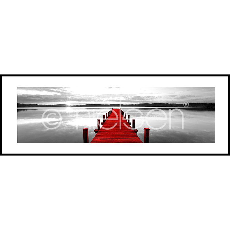 Gerahmte Kunst Footbridge red mit Aluminium Bilderrahmen C2