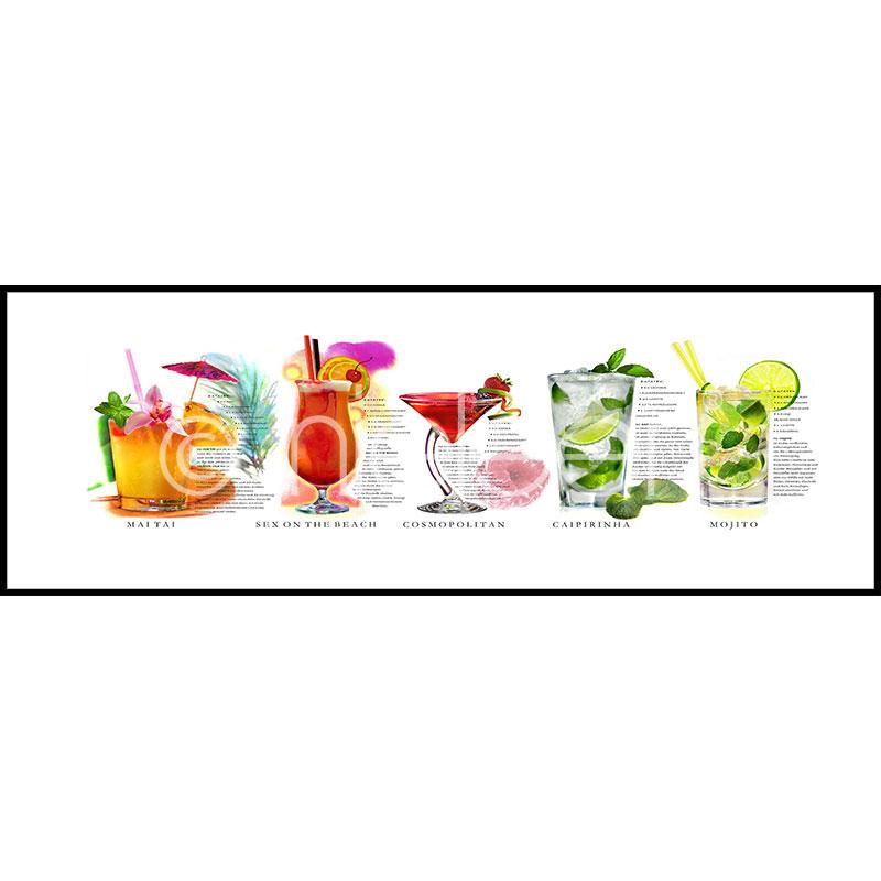 Gerahmte Kunst Cocktails mit Aluminium Bilderrahmen C2