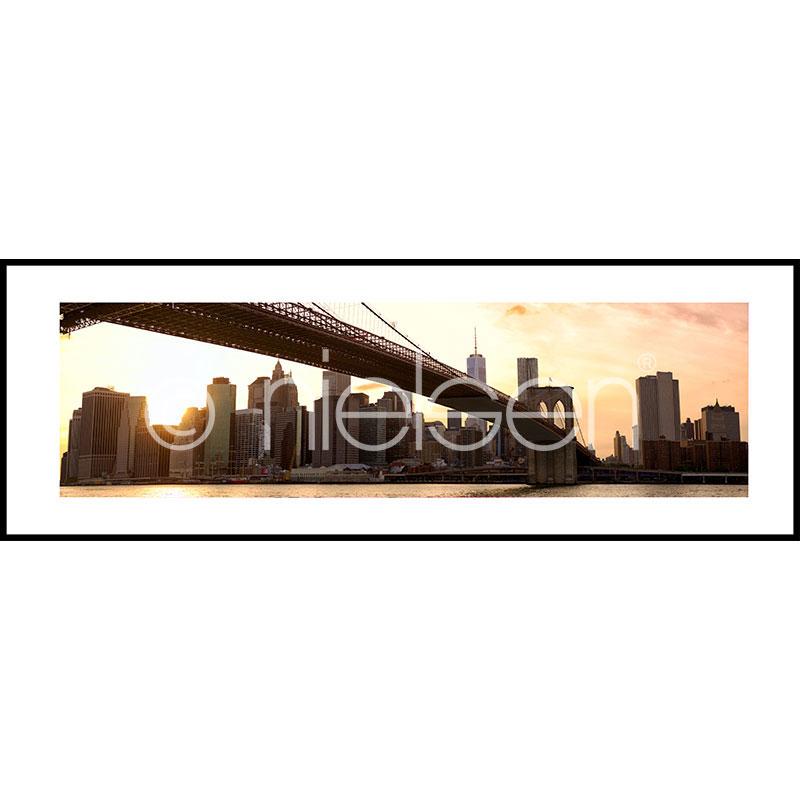Gerahmte Kunst Brooklyn Bridge Sunset mit Aluminium Bilderrahmen C2