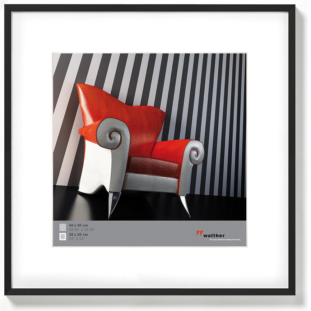 Alurahmen Chair 40x40 mit Passepartout (28x28) | schwarz | Normalglas