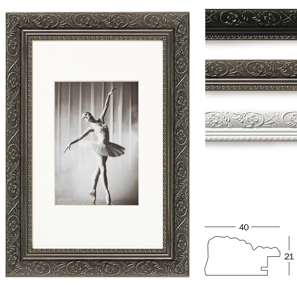 Holzrahmen Barock 13x18 cm | weiß cm | Normalglas