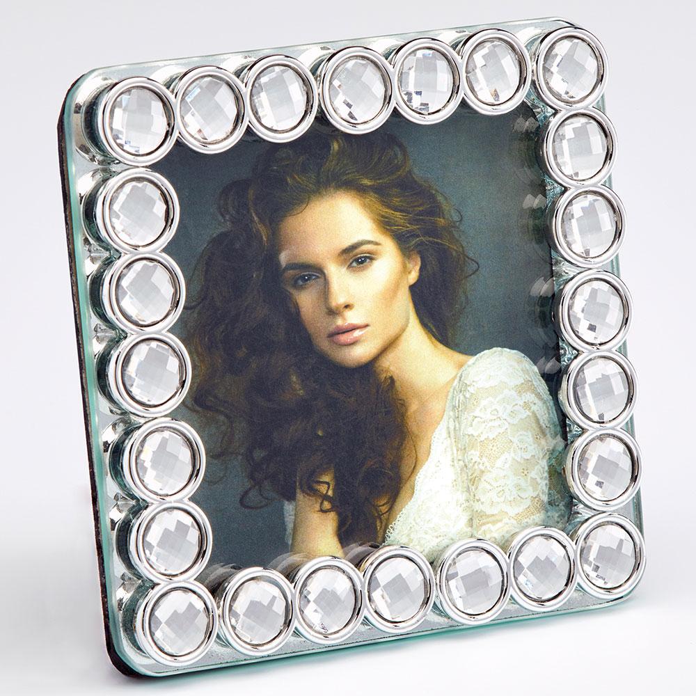 Portrait Bilderrahmen Perle 10x10 cm | silber | Normalglas